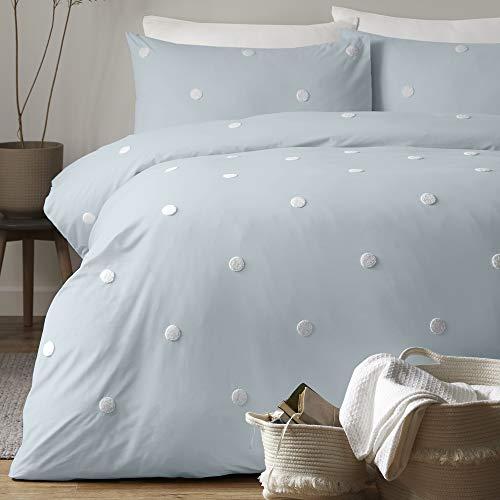 Appletree Dot Garden-Duvet Cover Set, 100% Cotton, Duck Egg with White Spots, King