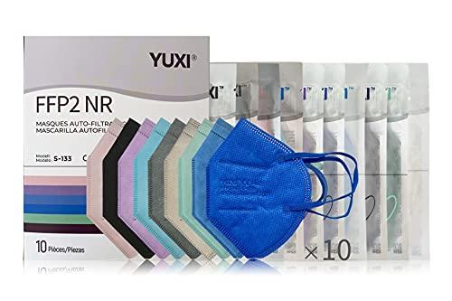 YUXI Mascherine FFP2 Certificate, 10 pezzi, Casuale Multicolore, CE1463 EN 149:2001 + A1:2009 FFP2 NR