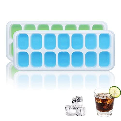 Eiswürfelform, 2 Stück Eiswürfelbehälter mit Deckel, 14-Fach Eiswürfelform Silikon, Eiswürfel Lassen Sich Leicht Entformen für Whisky, Cocktails, Saft, Schokolade, Süßigkeiten (Blau und Grün)
