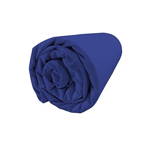 BLANC CERISE Drap Housse Bleu - Percale 80 Fils, uni - Bonnet 37 cm 180x200 cm - Bonnet 37cm
