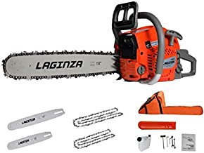 LaGinza LG4610 16-inch 18-inch 2IN1 Gas Powered Chainsaw with Carrying Case, Orange/Gray