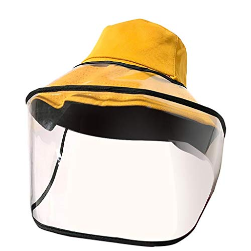 Feytuo hautfreundlichen Komfort, abnehmbare Schutzkappe Antibeschlagmütze Anti-Ultraviolett-Isolierung M-A-S-K Sonnenhut, Gelb