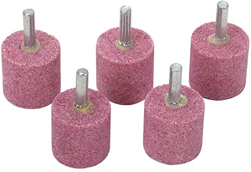 Join Ware 20Pcs Pink 1/4' Shank Cylindrical Red Corundum Grinding Heads Abrasive Mounted Stone Grinding Wheel Head Rotary Tools Deburring Polishing - Head: 25mm(1')