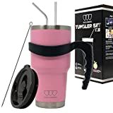 Gold Armour 30 oz Tumbler - 6 Piece Stainless Steel Insulated Water & Coffee Cup Tumbler with 2 Straws, 1 Lid, 1 Handle - 18/8 Double Vacuum Insulated Flask Water Bottle (Pink)