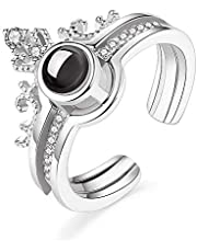 100 Languages Two Parts Ring - Silver color