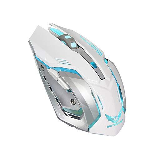 Kabellose Gaming-Maus 2,4GHz mit USB Nano Empfänger,7-Farbiger Beleuchtung, Wiederaufladbar (600 mAh Akku) (Weiß)