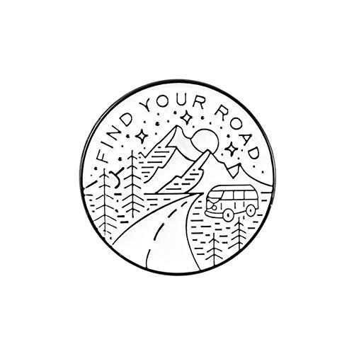 Pin de esmalte suave con paisaje de registro, cámara redonda blanca simple, reloj de arena, hervidor, broche, paisaje, montaña, playa, árbol, joyería al aire libre-1