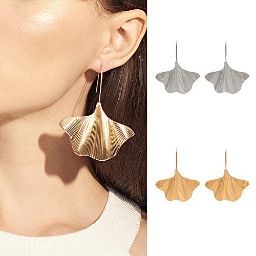 KingbeefLIU Frauen Ginkgo Leaf Dangle Drop Geometrische Haken Ohrringe Statement Party Schmuck Böhmische Vintage Mode Ohrringe Ohrstecker Golden