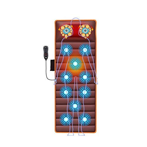 Qin Comfier Full Body Massage Mat with Heat-Back Massage Chair Pad with 10 Vibration Motors,Heated Massage Mattress Pad for Back Pain Relief (Color : Brown)