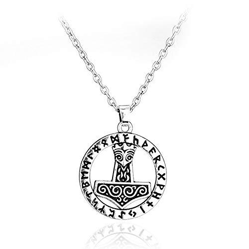 YioKpro Viking Norse Odin Jewelry Mjolnir Nudo Colgante Thor Martillo Collar Amuleto Chapado en Plata tibetana para Hombres Mujeres Accesorio de película