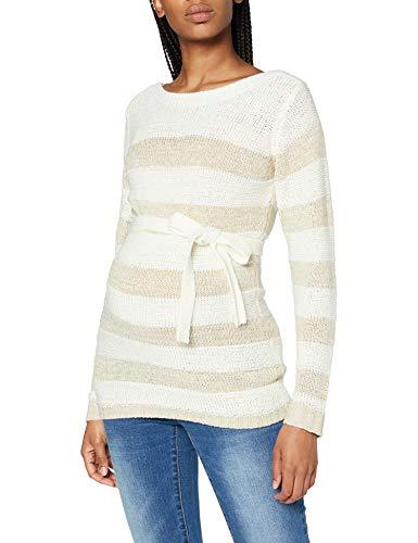 MAMALICIOUS Damen MLSANDY L/S Knit Top, Snow White/Stripes:LYREX Stripe, M