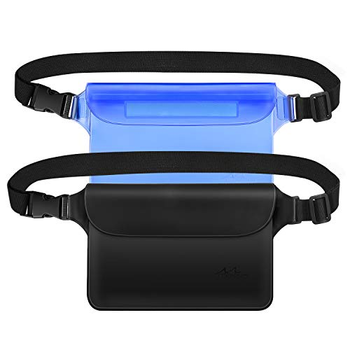 MoKo Waterproof Waist Bag Pouch [2 Pack], Waterproof Fanny Pack with Adjustable Strap, Lightweight Waist Pack Dry Bag for Boating, Swimming, Kayaking, Fishing, Hiking, Beach, Pool - Black + Blue