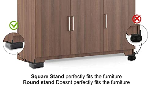 Rexez Wood and Steel Furniture Multi-Purpose Square Plastic Legs for Almirah , Wardrobe, Refrigerator, Sofa, Sleeping Bed, Dinning and Dressing Table , which Bear 450 Kgs (Brown) - 4 Pieces