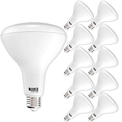 Sunco Lighting 10 Pack BR40 LED Bulb, 17W=100W, Dimmable, 5000K Daylight, E26 base, Indoor Flood Light for Cans - UL & Energy Star (Renewed)
