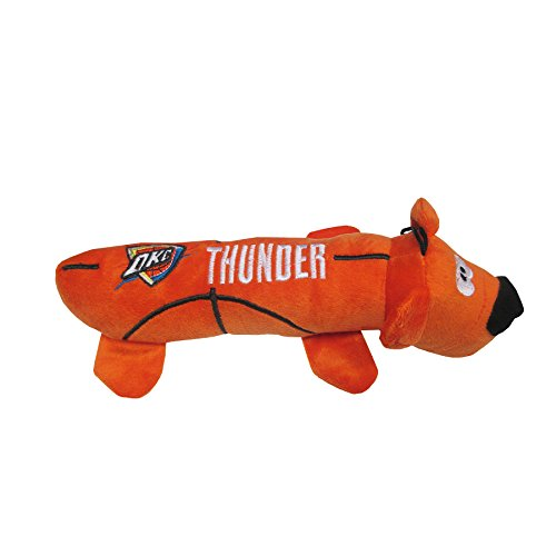 NBA Oklahoma City Thunder Soft Plush Tube Toy for Dogs & Cats with Two Inner SQUEAKERS