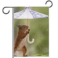 ホームガーデンフラッグ両面春夏庭の屋外装飾 28x40in,傘を持っている赤い動物
