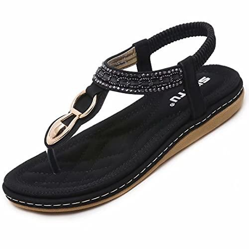 SOMIC Sandalia Playa Bohemia Mujer Adulta Verano Casual Tacón Plano Zapato Tira Elástica Filp Flop Chancleta Calzado Antideslizante de Fondo Suave Cuero Goma Ligero Negro Talla EU 42 (CN 43)