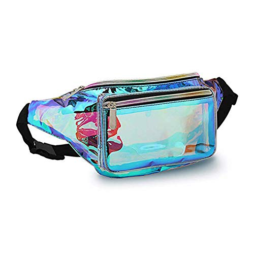 Holographic Fanny Pack– Fashion Rave Waist Bag with Adjustable Belt for Women and Men (Iridescent Blue)