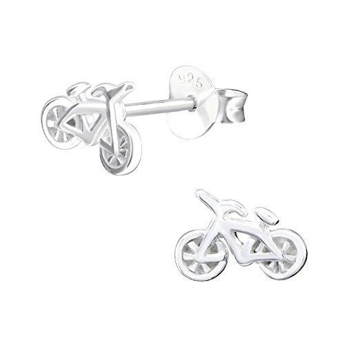 Monkimau Mädchen Ohrringe Fahrrad Ohrstecker aus 925 Sterling Silver Silber