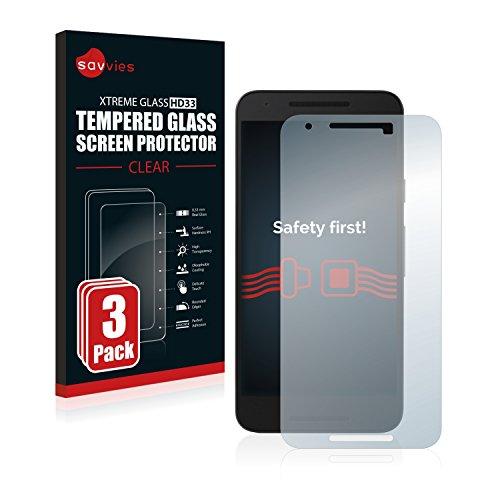 savvies Protector Cristal Templado Compatible con Google/LG Nexus 5X (3 Unidades) Protector...