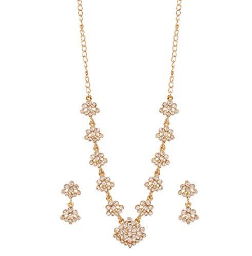 Touchstone Nieuwe Indische Bollywood Verlangen Traditioneel Gemaakt Diamond Look Prachtige Witte Strass Ontwerper Sieraden Ketting Set in Antiek Goud Toon voor Vrouwen,