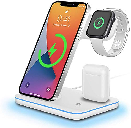 Wireless Charger, 15W 3in1 Charging Dock Compatible with Apple iPhone 8/9/10/11/12 Series Apple Watch 2/3/4/5 Series AirPods, Fast Charger for Samsung S10/ S20/ S21 Huawei Qi Compatible Phones (White)