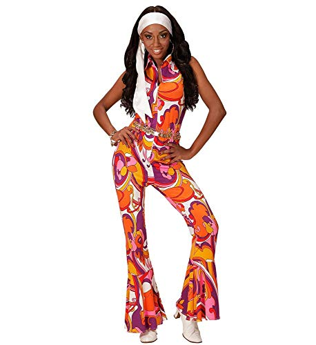 70er Jahre Damen Retro Jumpsuit mit Orchideen-Muster Disco-Queen Kostüm Overall Siebziger Schlager-Festival 70's, Größe:L