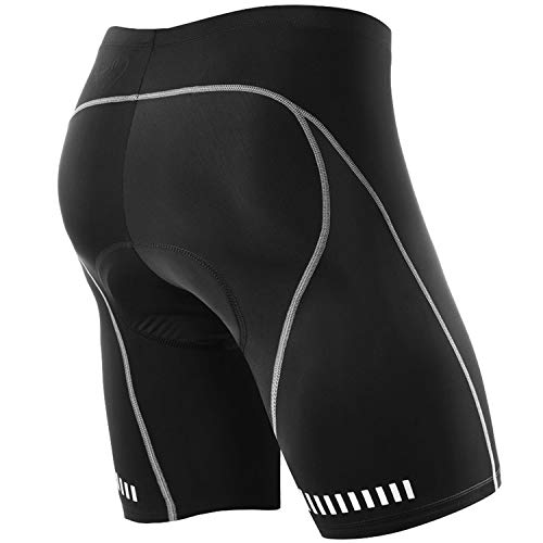 NOOYME Men's Cycling Shorts 3D Gel Padded Bicycle Riding Men's Bike Shorts (L, Black)