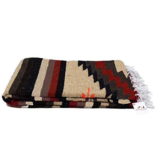 Aztec Navajo Style Blanket, Throw, or Yoga Bolster -- Handwoven Mexican Diamond Blanket Southwestern Style - Brown
