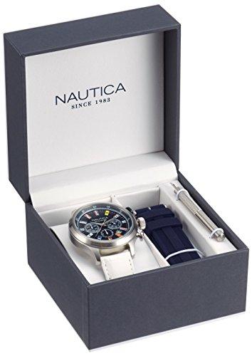 Nautica Orologio Analogico al Quarzo Uomo con Cinturino in Pelle NAI18516G