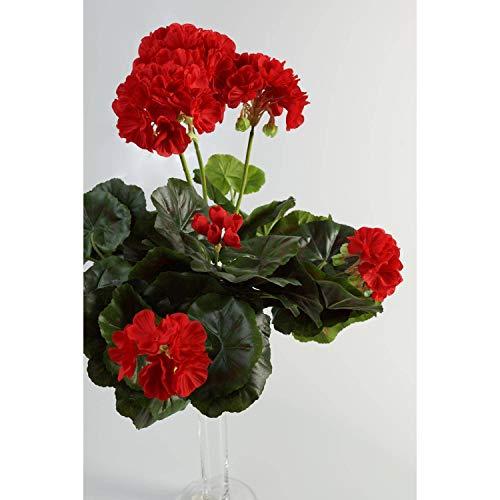 artplants.de Decorativo Geranio MIA en Vara, Rojo, 35cm, Ø 30cm - Planta Artificial - Flor sintética