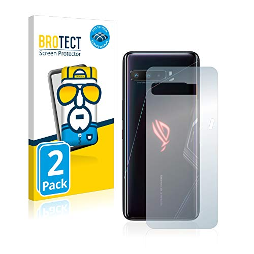 BROTECT Full-Cover Schutzfolie kompatibel mit Asus ROG Phone 3 Strix (Rückseite) (2 Stück) - Full-Screen Bildschirmschutz-Folie, 3D, Kristall-Klar