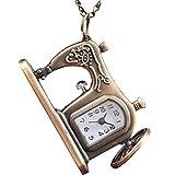 Reloj de Madera Relojes, Relojes mecánicos de Madera Bolsillo para Mujer Reloj de Bolsillo de Cuarzo analógico Máquina de Coser Patrón Collar Colgante
