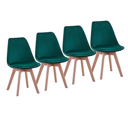 Uderkiny Pack de 4 sillas Silla de Comedor de Patchwork con Cojines, Adecuada para Comer en la Cocina de la Sala de Estar, etc (Verde Terciopelo)
