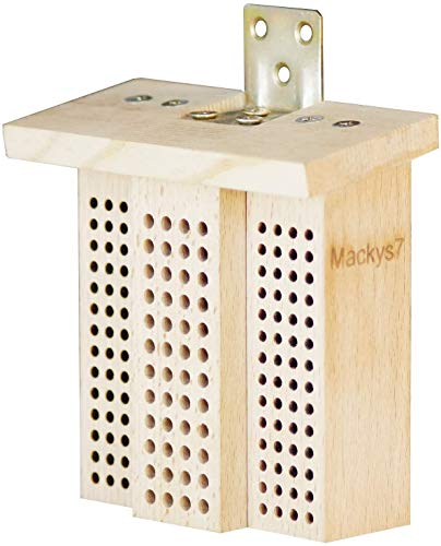 MACKYS7 Wildbienen-Insektenhotel, Wildbienen-Nisthilfe 160 Hartholz-Bohrungen Mini-Wildbienenhotel
