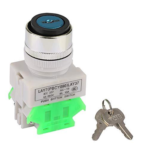 Interruptor giratorio con llave 220 V, 3 posiciones, interruptor giratorio con cerradura con llave con 2 llaves, agujero de montaje 22 mm LAY37-20Y / 31