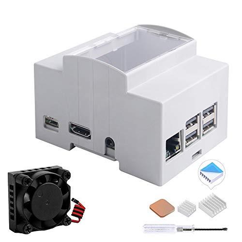 GeeekPi Case for Raspberry Pi 3B+/3B on DIN Rail - Modular Box for Electrical Panels,Raspberry Pi 3 Case with Fan,Raspberry Pi Heatsink for Raspberry Pi 3B+/3B