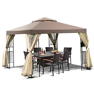 Tangkula 10x10 Feet Patio Gazebo, Outdoor Gazebo Canopy Shelter w/ Netting, Steel Frame Gazebo Tent w/ 100 Square Feet of Shade for Patio, Backyard, Poolside