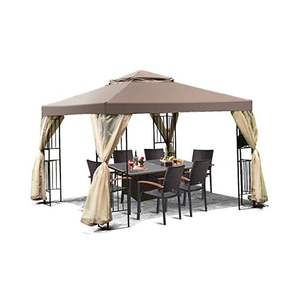 Tangkula 10×10 Feet Patio Gazebo, Outdoor Gazebo Canopy Shelter w/ Netting,...