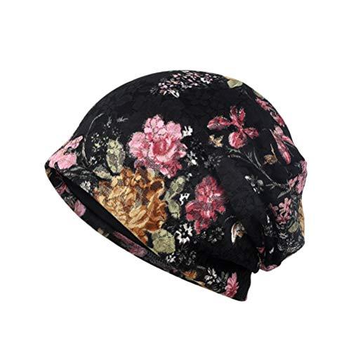 Tendycoco hoed voor chemotherapie, voor vrouwen, kant, bloemen, chirurgisch staal, peeling, decoratie, hoofdbedekking, bloemenprint (zwart)
