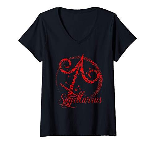 Mujer Signo del zodiaco rojo de Sagitario, noviembre de diciembre, Camiseta Cuello V