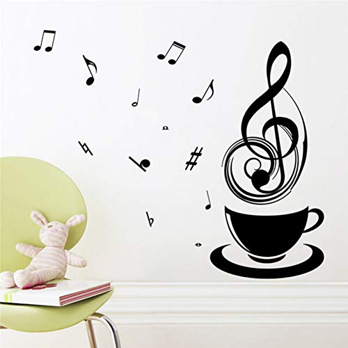Music Tea Coffee Cup DIY home decals wall stickers coffee shop office DIY vinyl kitchen decorative mural art wallpaper