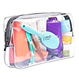 Extra-Large Capacity Clear Toiletry Travel Bag / Transparent Waterproof Leakproof / For Men and Women / Oversized (full size bottle hair dryer electric shaver) / Heavy Duty