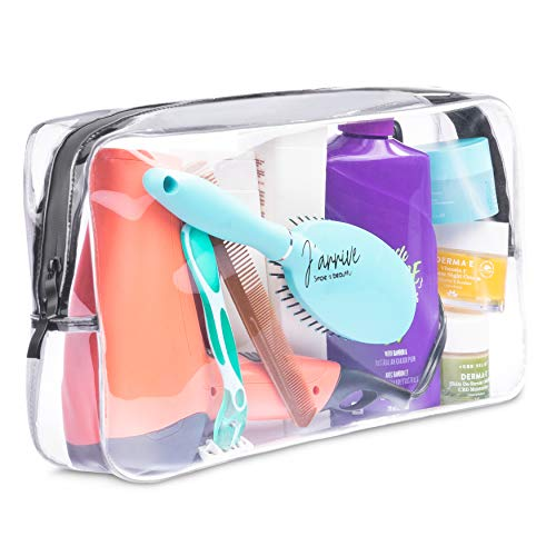 Extra-Large Capacity Clear Toiletry Travel Bag / Transparent Waterproof Leakproof / For Men and Women / Oversized (full size bottle hair dryer...
