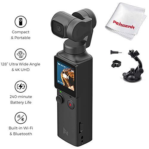 FIMI Palm Estabilizador Gimbal de Bolsillo con cámara Inteligente 4K, Lente Ultra Gran Angular de 128 °, Conexión WiFi y Bluetooth con Soporte de extensión
