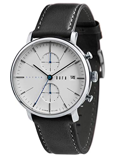 Dufa Herren Analog Japanisches Quarzwerk Uhr mit Leder Armband DF-9027-01