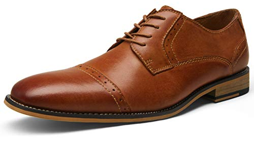 JOUSEN VALYRAIN Leather Mens Dress Shoes Retro Cap Brogue Oxford Classic Formal Shoes for Men Lace Up Derby Oxfords (AMY905,9,Red Brown)