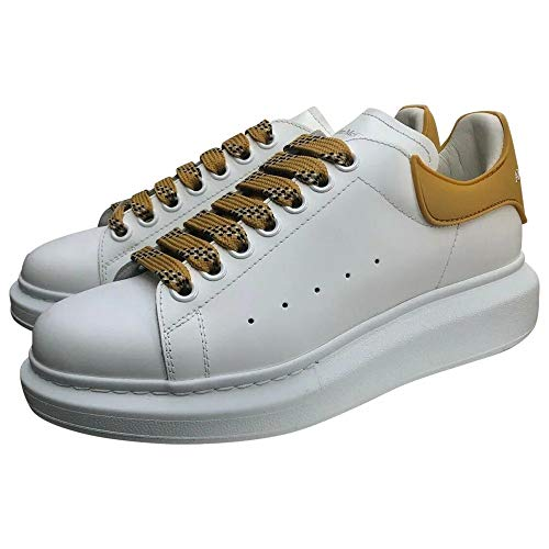 Alexander McQueen White/Yellow Oversize Sneakers New/Authentic (37.5, Numeric_7_Point_5)