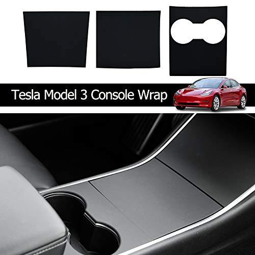 Model 3 Accessoires Console Wrap Kit Folie ABS Kunststof Middenconsole Armleuning Control Panel Voor Model 3 Center Console Protector, mat zwart