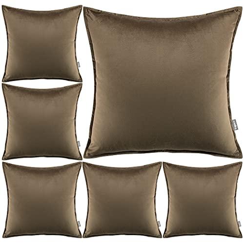 Yzpacc Juego de 6 fundas de almohada de terciopelo con bordes a medida decorativos cuadrados para sofá cama (45 x 45 cm) (solo fundas de almohada, sin relleno), color marrón